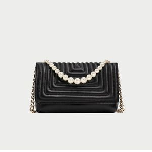 ZARA Leather Crossbody Bag With Faux Pearls